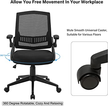 Upgraded Home Office Chair, Ergonomic Office Chair with Flip-up Armrests, Desk Chairs with Lumbar Support, Mesh Computer Chai