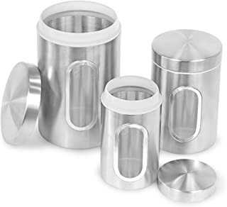 Internet's Best Stainless Steel Storage Canisters | Set of 3 | Kitchen Food Coffee Tea Pasta Sugar Flour Container | Storage Jar with Window