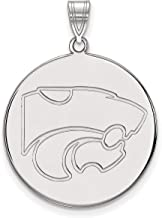 Kansas State University Wildcats Mascot Logo Disc Pendant in Sterling Silver 26x25mm
