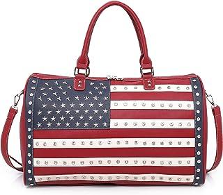Montana West American Travel Duffel Bags Large Sport Gym Bag For Women Men Navy US-04-5110 RD