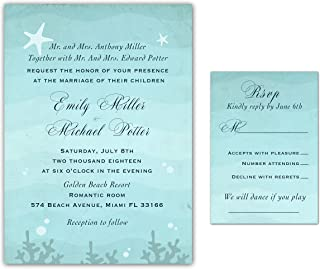 100 Wedding Invitations Beach Under The Sea Vintage Design Starfish + Envelopes + Response Cards Set