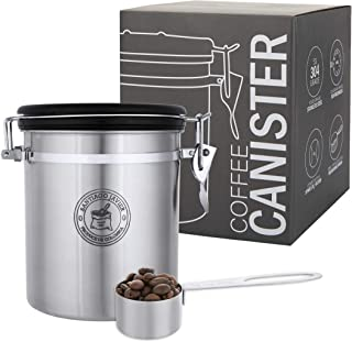 Santiago Javier - Recipiente de acero inoxidable para café con válvula de CO2 y cuchara medidora