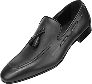 Asher Green Genuine Italian Leather Burnished Men's Slip On with Twin Tassels & Leather Heel Lacing Style AG4743
