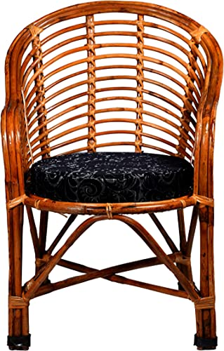 MyCrystal India Wooden Bamboo Cane 100 Good Antique Chair for Adults Home Decoration LivingRoom Balcony Furniture with Random Color Cushion Brown