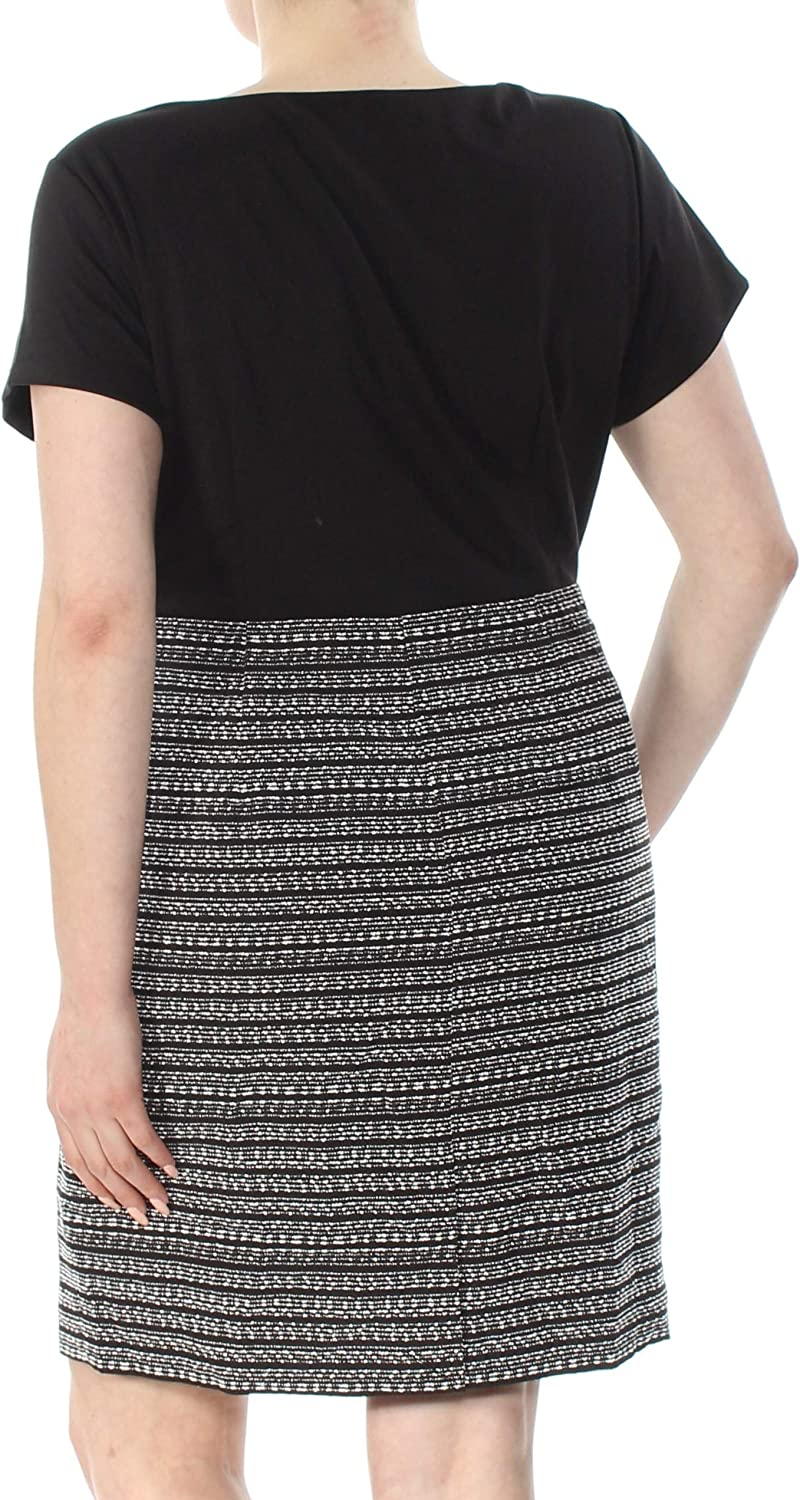 ELLEN TRACY Plus Size Womens Striped Tweed Black and White Dress