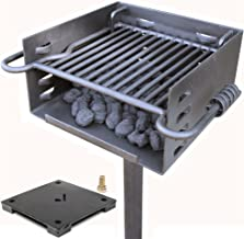Titan Single Post Park Style Grill Charcoal Grill w Base Anchor BBQ Heavy Camp