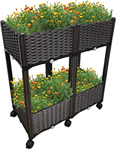 ACG-INC Elevated Raised Garden Bed Kit Plastic, Planter Boxes Outdoor with Self-Watering Design and Legs, Planters for Vegetables Flowers Herbs (4 Planter Boxes with 6 Wheels)