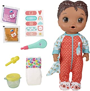 Baby Alive Mix My Medicine Baby Doll, Llama Pajamas, Drinks and Wets, Doctor Accessories, Black Hair Toy for Kids Ages 3 a...