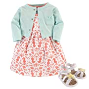 Hudson Baby Baby Girl Cotton Dress, Cardigan and Shoe Set, Sea, 0-3 Months