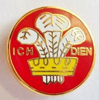 Wales Ich Dein Prince Of Wales Feathers Round Enamel and Metal Pin Badge