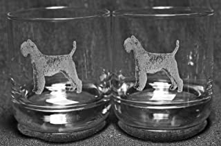 Muddy Creek Reflection Airedale Terrier Dog Laser Etched Double Old Fashioned Whiskey Glass Set (2, DOF)