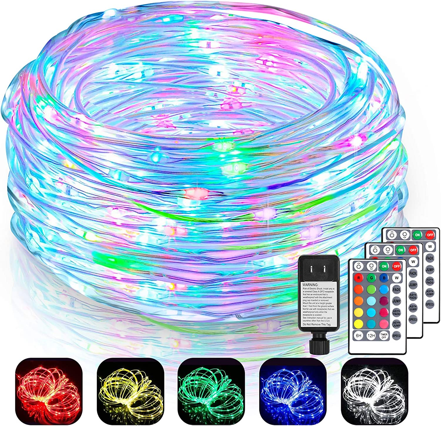 2 Pack Each 99Ft LED Outdoor String Lights, Rope Lights 300 LEDs Color Changing Lights with Remote, Waterproof Lights Plug-in Outdoor Fairy Lights for Wedding, Patio, Garden, Christmas Decor,16 Colors