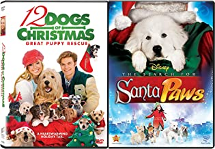 Santa and a Young Pup Paws Holiday Tails 12 Dogs of Christmas + Disney In Search for Santa Paws Movies 2-Pack of Cheer