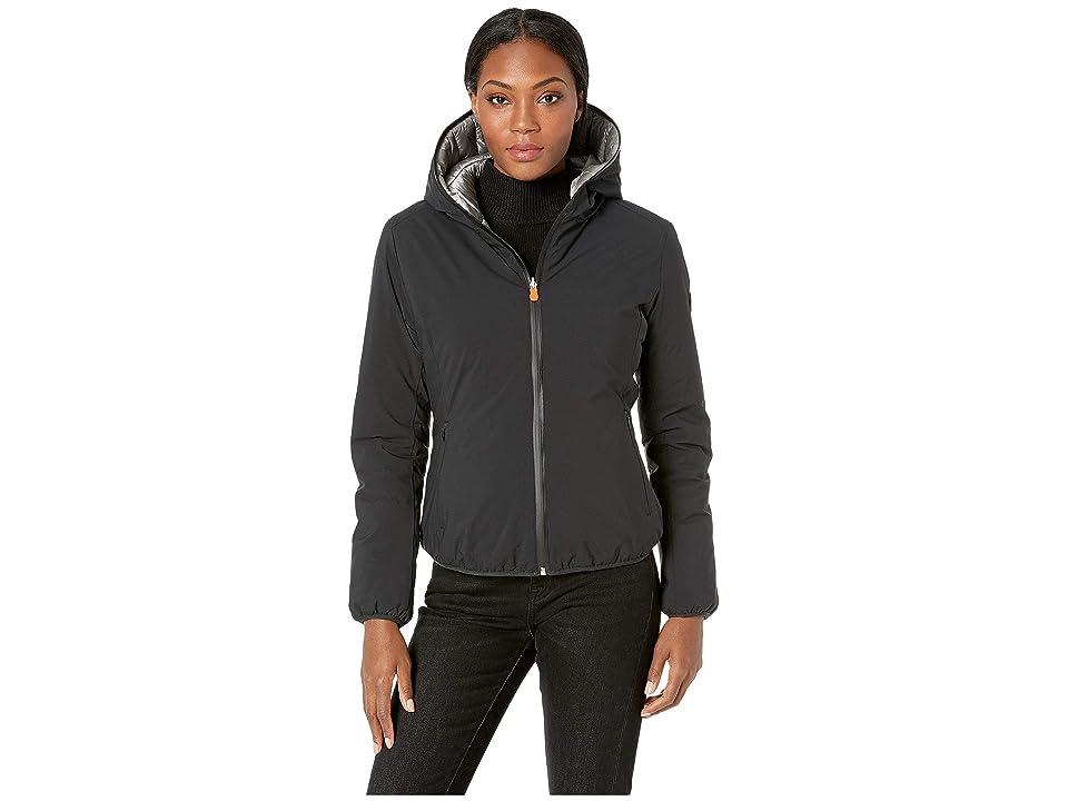 Save the Duck Short Hooded Reversible Jacket (Black) Women