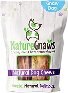 Nature Gnaws Small Dog Chews Variety Pack - Premium Natural Beef - Combo Bag of Bully Sticks, Tendons and Beef Jerky for D...