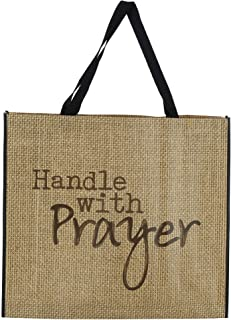 Handle with Prayer Burlap Look 20 x 17.5 Inch Giant Nylon Tote Bag with Handles