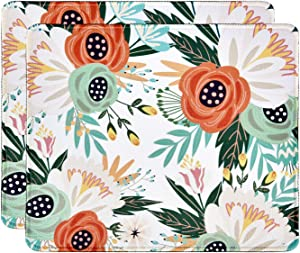 Floral Mouse Pad 2 Pack Non-Slip Rubber Rectangle Mouse Pads Customized Gaming Mouse Pads for Laptop and Computer