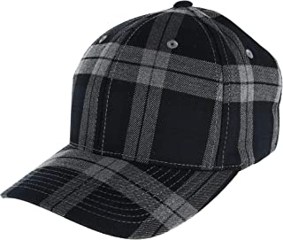 Men's Cotton Tartan Plaid Stretch Fit Baseball Hat