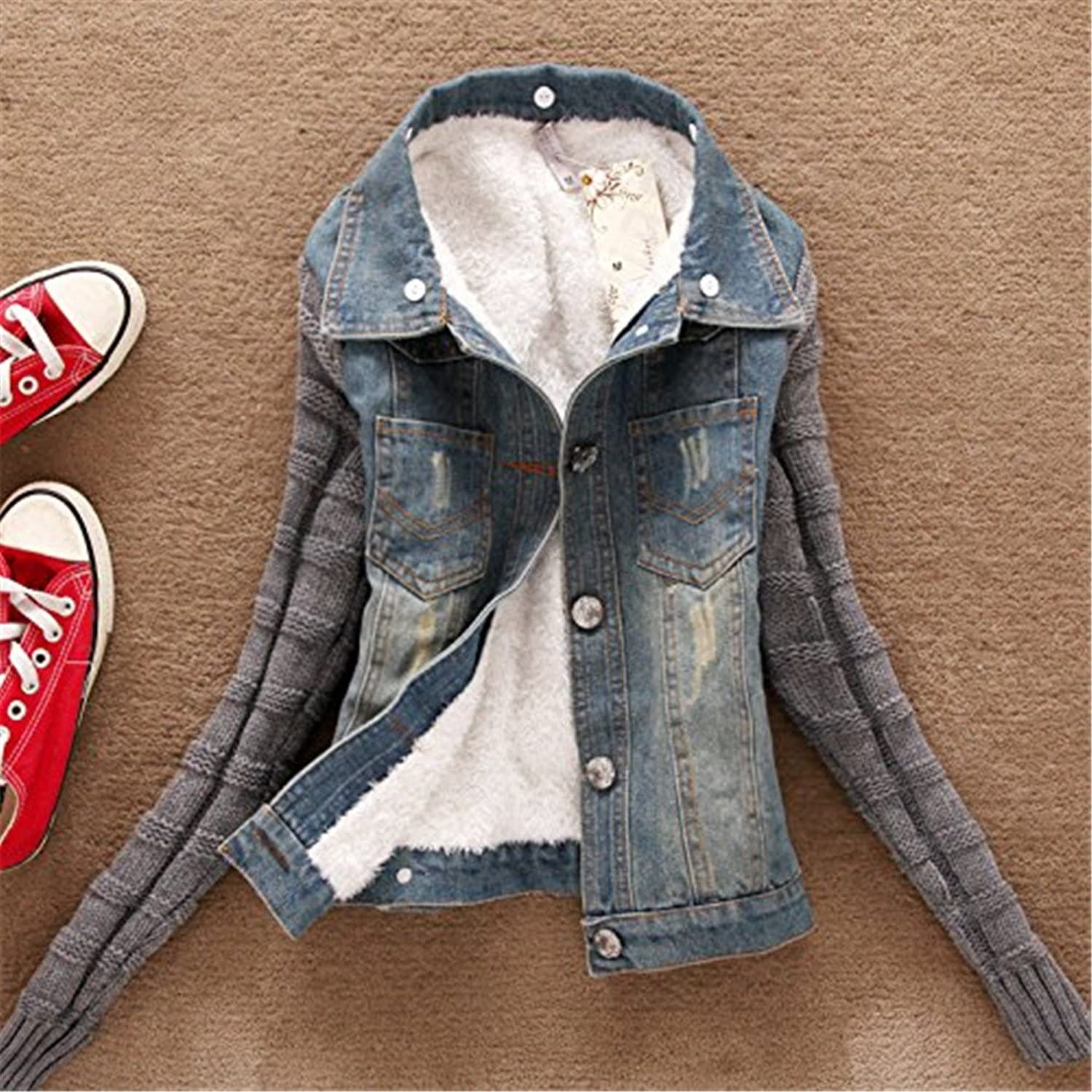 Josherly Women Jacket Autumn Casual Denim Appliques Patches Patchwork