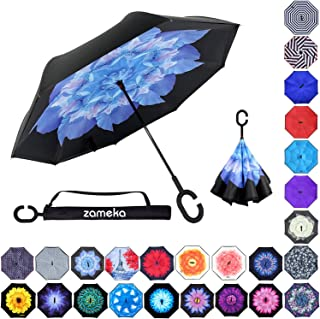 Z ZAMEKA Double Layer Inverted Umbrellas Reverse Folding Umbrella Windproof UV Protection Big Straight Umbrella Inside Out Upside Down for Car Rain Outdoor with C-Shaped Handle, Blue Lotus