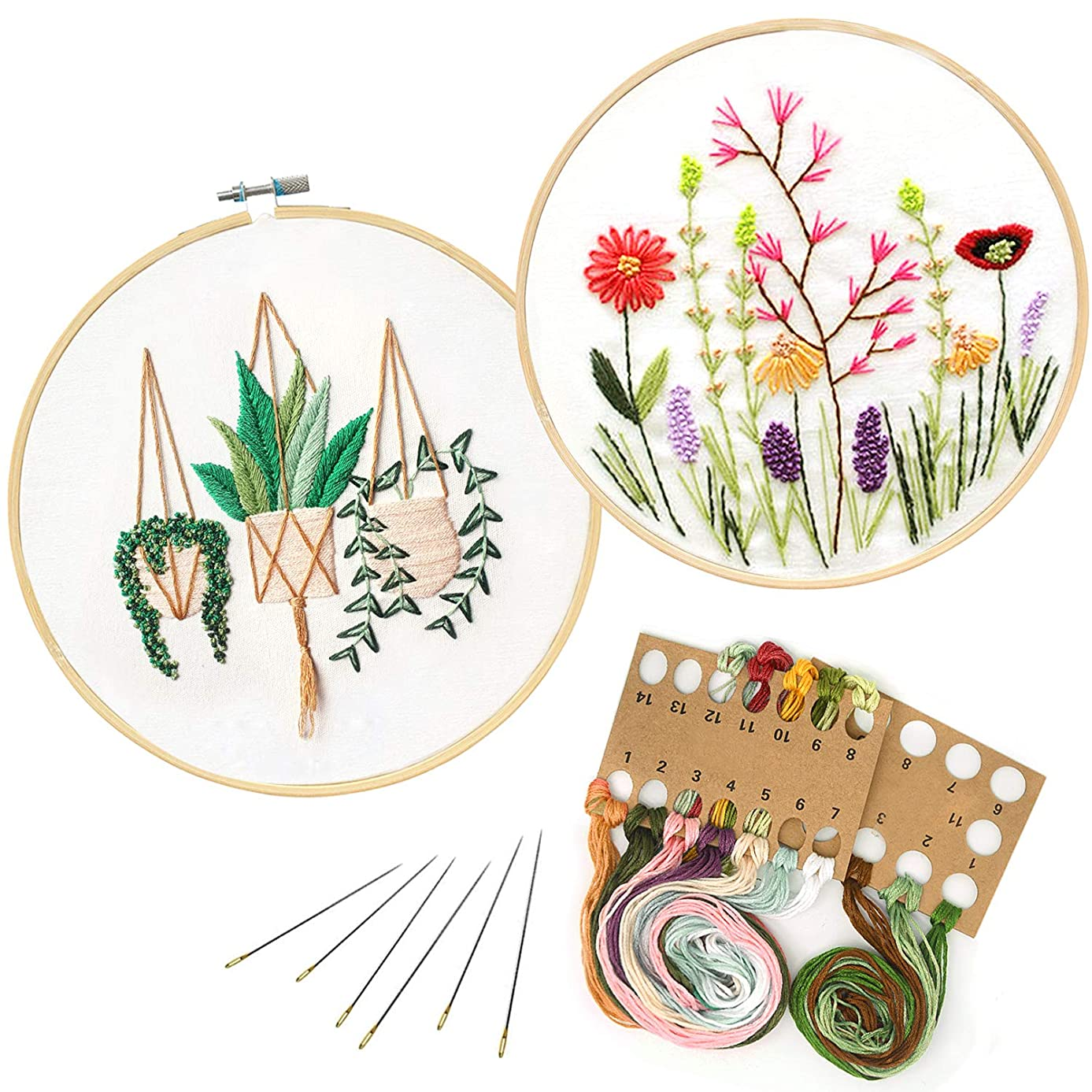 2 Pack Embroidery Starter Kit with Pattern, Full Range of Embroidery Kit for Beginner Stamped DIY Embroidery Kit Includes Embroidery Cloth, Embroidery Hoop, Threads, Tools Kit (Bracketplant & Flowers)