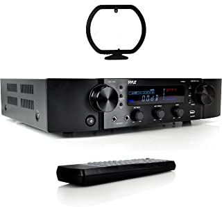 Pyle Updated Pyle Stereo Preamplifier, Home Entertainment Receiver, Bluetooth Amp, RCA Audio Input, 2 Channel Amp, AM/FM Radio with LCD Display, MP3/USB/AUX, Remote Control, AC Power Cable (PT395)