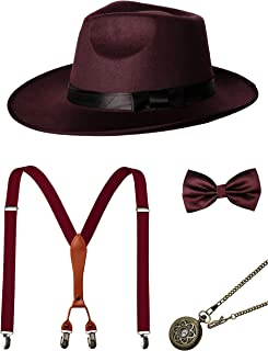 1920s Mens Accessories Gatsby Gangster Costume Accessories Set Manhattan Fedora Hat Suspenders Bow Tie Pocket Watch