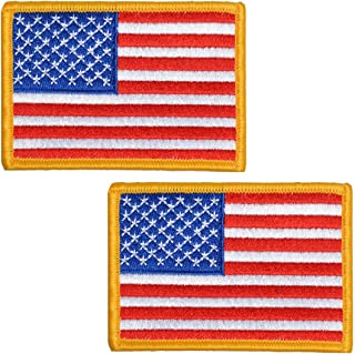 2 Pack, 3.5 X 2.5. Inch American US Flag Embroidered Cloth Sew on Iron on Patch Golden Yellow Border.
