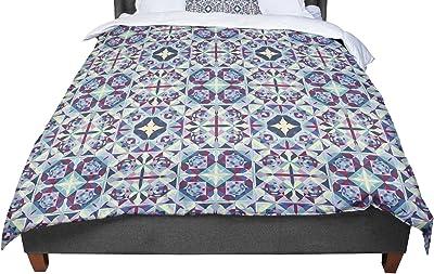KESS InHouse Pom Graphic Design Tribal Simplicity Teal Queen Comforter 88 X 88