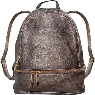 Humble Chic Vegan Leather Backpack Purse Small Fashion Travel School Bag Bookbag, Gunmetal, Metallic