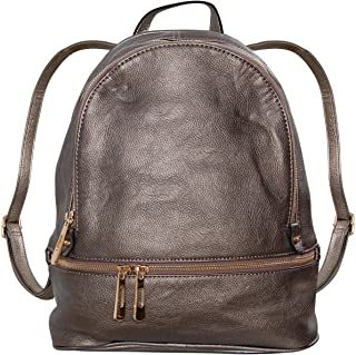 Humble Chic Vegan Leather Backpack Purse Small Fashion Travel School Bag Bookbag, Gunmetal, Metallic Dark Silver