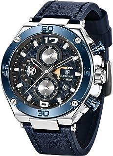 Orologio da uomo BENYAR cronografo impermeabile con cinturino in pelle al quarzo analogico Orologio da polso da uomo Regal...
