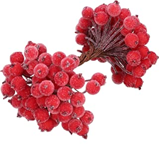 24 x RED PLASTER HOLLY BERRIES 6mm DOUBLE ENDED WIRED STEMS CHRISTMAS CRAFT