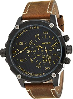 Megir Mens Quartz Watch, Chronograph Display and Leather Strap - 2093G