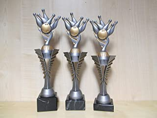 mit Gravur - Fanshop L/ünen Bowling Kids - - Turnier Pokal 3er Serie a307 Sportpokale Geburtstag Bowlen Gr. 27,28,29 cm Pokale