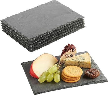 VonShef Schieferplatten 6 TLG. Set - Servierplatten Käseplatten Tapas Serviertablett | Teller aus 100% Naturschiefer | 22x16 cm | Ideal zum Servieren von Tapas, Gebäck, Käse & vieles mehr!