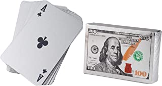 Juvale Waterproof Playing Cards - 2 Standard Decks, Silver Foil Plastic Poker Cards, Hundred Dollar Cash Bill Design, Luxury Card Game with Gift Box