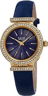 Burgi Swarovski Crystal Studded Bezel Watch - Sparkling Design Fine Guilloche Pattern Dial - Genuine Patent Leather Black Strap - BUR230
