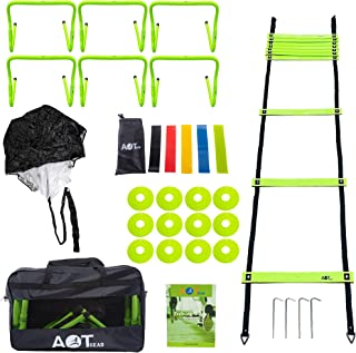 25-Pieces Agility Training Equipment - Speed Training Ladder - Running Parachute - Agility Hurdles and Cones - Resistance ...