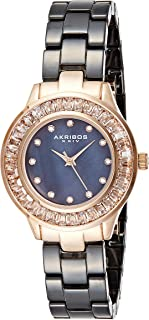 Akribos XXIV Women's AK781 Crystal Baguette Quartz Movement Watch with Mother of Pearl Dial and Ceramic Bracelet