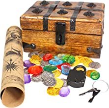 Well Pack Box Wood Pirate Treasure Chest Strongbox 6.5 x 4 x 4 with 32 Metal Antique Style Coins Authentic Large Brown Paper Map and Strong Iron Lock