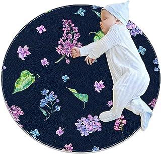 Blå grön blad lila blomma, barn rund matta polyester överkast matta mjuk pedagogisk tvättbar matta barnkammare tipi tält l...