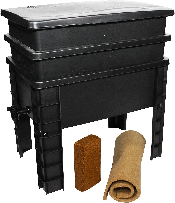 Lombrikomposter 2 Tabletts I 1 kg Kompostw/ürmer I Komplett-Set I Gro/ße Kapazit/ät 68 Liter WormBox Urban Worm