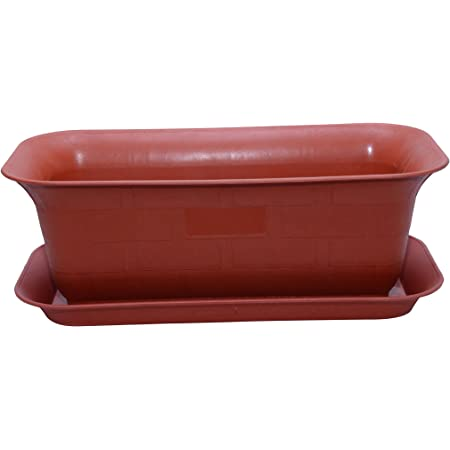Gardens Need Window Rectangular Planter with Bottom Tray Set (20-inch, Terracotta, Pack of 3 Sets)