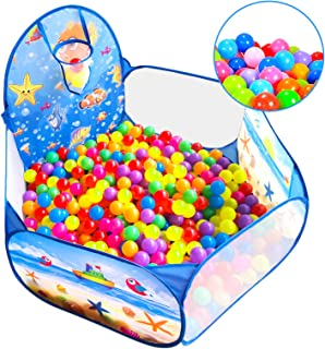 Baby Ball Pit for Toddlers with 50 Plastic Balls, Kids Pop Up Play Tent for Girls, 1st Gift for Children with Ball Pit Balls, Boys Playhouse Toy for Indoor or Outdoor (Ball Pit with 50 Balls)