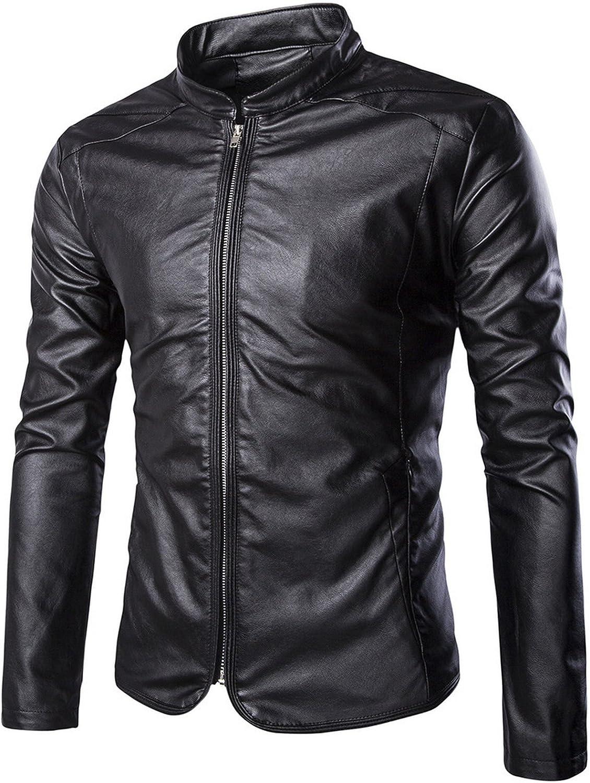 Elonglin Mens Moto Jacket Faux Leather Motorcycle Biker Jacket Coat Zip Col Mao Keep Warm Autumn Winter