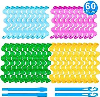Duufin 60 Pcs Wave Hair Curler Rollers Heatless Water Ripple Curlers Magic Hair Rollers DIY Hair Style Tools Set for Women and Girls (Bonus: 2 Pcs Hooks)