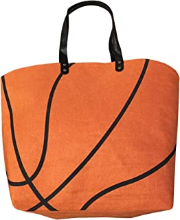 XL Orange Basketball Canvas Tote Bag