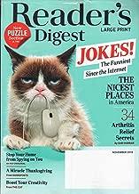 Reader's Digest LARGE PRINT Magazine November 2018 | Funniest Jokes since the Internet