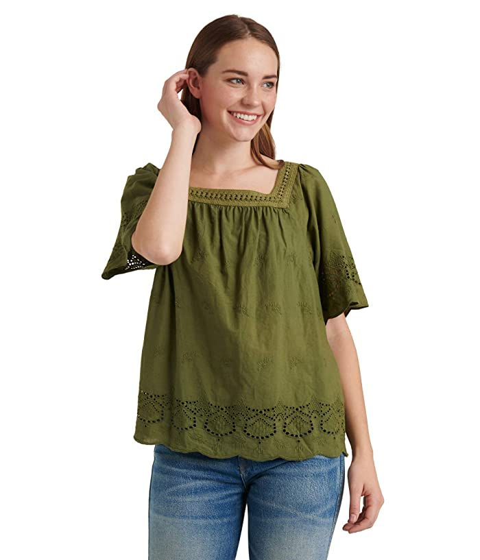Lucky Brand  Short Sleeve Square Neck Lace Mix Peasant Top (Olivine) Womens Clothing